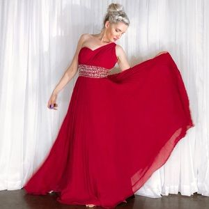 One Shoulder Rhinestone Red Pageant Prom Gown